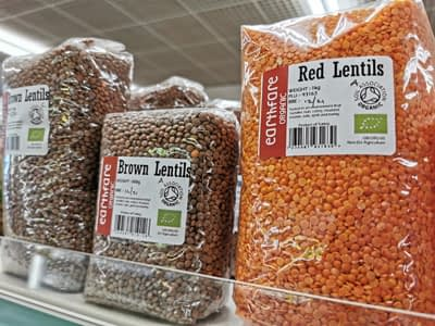 Wholesome organic red and brown lentils from Earthfare