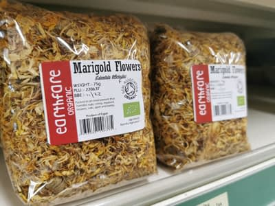 Dried organic Marigold Flowers (Calendula) from Earthfare. Makes a lovely medicinal herb tea